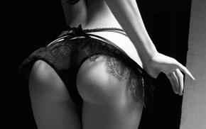 ass, monochrome, panties, Marketa Gubalova, girl, hand in panties