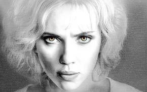 Scarlett Johansson, Lucy movie, face, selective coloring