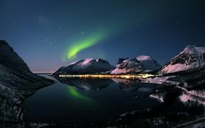lake, urban, reflection, aurorae, snow, landscape