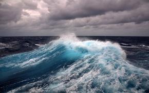 sea, waves, clouds