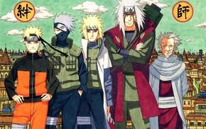 Uzumaki Naruto, Jiraiya, Namikaze Minato, manga, Hiruzen Sarutobi, Hatake Kakashi