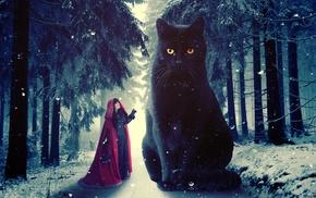Red Riding Hood, photo manipulation, digital art, cat, winter, Photoshop
