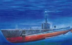 USA, underwater, blue, drawing, sea, submarine