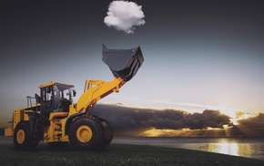 nature, trucks, clouds, wheels, tractors, optical illusion