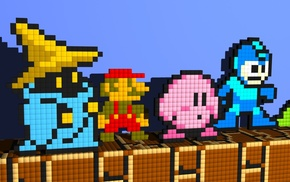 Super Mario, Mega Man, Kirby, Black Mage
