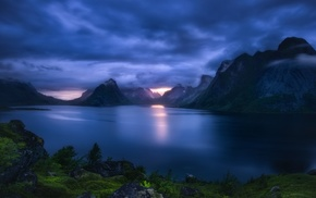 fjord, clouds, sea, mountain, Lofoten Islands, sunlight