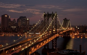 bridge, night, New York City, city, Manhattan Bridge, USA