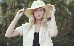 hat, Berit Birkeland, straw hat, blonde, blue eyes, girl