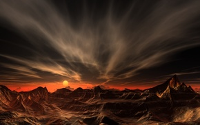 mountain, clouds, red, sunset, desert, erosion