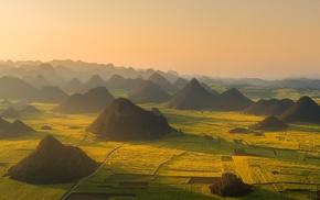 aerial view, nature, sunset, mist, hill, landscape