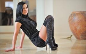 legs, stockings, black hair, Valentina, dress, pornstar