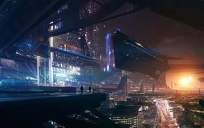 futuristic, spaceship, lights, Mass Effect, future city, fantasy art