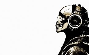 skeleton, headphones, skull, music