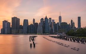 cityscape, skyline, sunset, Manhattan, New York City, water