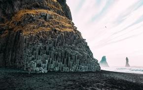 Iceland, Reynisfjara, cliff, sea, nature, rock