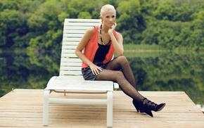 model, girl outdoors, blonde, high heels, Berit Birkeland, stockings