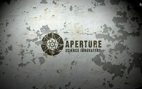 chipped paint, gray, Portal, video games, Aperture Laboratories
