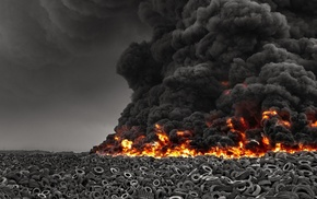 pollution, environment, smoke, selective coloring, disaster, burning