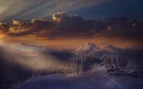 Alps, nature, mist, Italy, landscape, winter