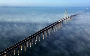 bay, water, mist, bridge, sunlight, China