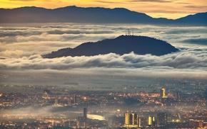 cityscape, lights, sunrise, nature, landscape, architecture
