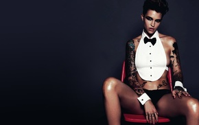 gray background, Ruby Rose actress, tattoos, brunette, actress