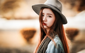 Asian, face, hat, girl, portrait