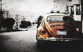 orange cars, car, California, Volkswagen, Volkswagen Beetle