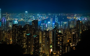 city lights, Hong Kong, night, lights, street light