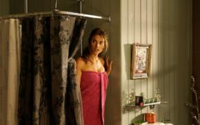 model, walls, girl, shower, blonde, picture frames
