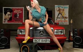 shirt, long hair, microphones, checkered, blonde, Mercedes