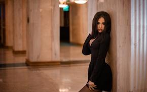 cleavage, girl, black dress, portrait