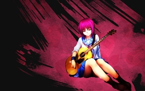guitar, anime, anime girls, Iwasawa Masami, Angel Beats, school uniform