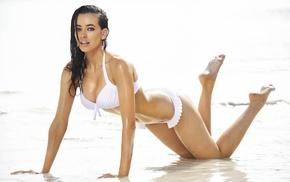 beach, model, Sarah Stephens, wet, girl, dark hair