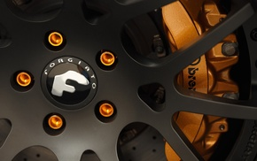 Forgiato, wheels, rims, orange, closeup, Brembo
