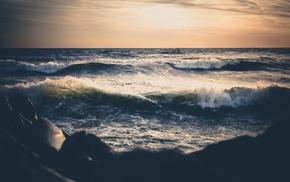 sea, sunset, waves