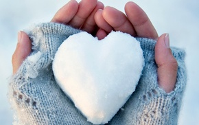 hand, gloves, snow, hearts