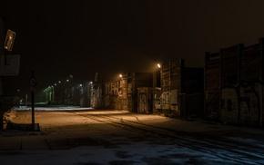 graffiti, lights, snow, street, industrial, night