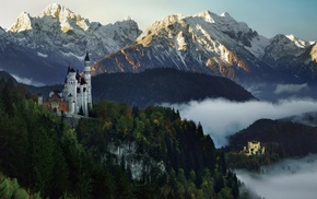 landscape, sunset, mist, mountain, forest, nature
