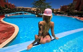 ass, girl, blonde, back, swimming pool, tattoos
