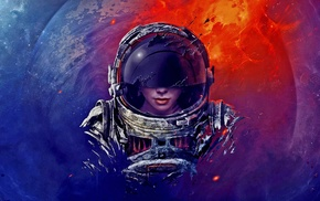 astronauts, digital art, science fiction