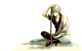 white hair, Gintama, anime boys, anime, Sakata Gintoki