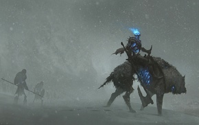 fantasy art, knights, artwork, undead, knight, snow