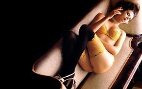 stockings, smoking, lingerie, Charlize Theron