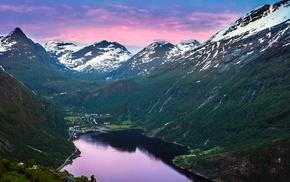 landscape, Geiranger, snow, lake, Norway