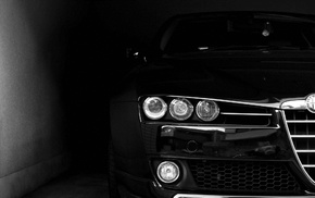 Headlights, dark, face, black, Alfa Romeo, car