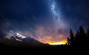 long exposure, snowy peak, trees, starry night, lights, landscape