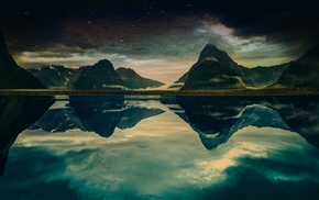 New Zealand, mountain, fjord, Milford Sound, morning, sky