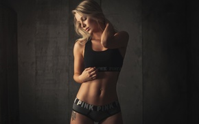 pierced navel, blonde, tattoo, girl, the gap, closed eyes