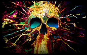 digital art, skull, colorful